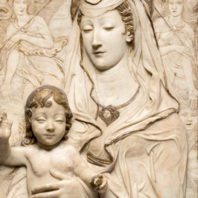 La Vierge et l'Enfant entre deux anges