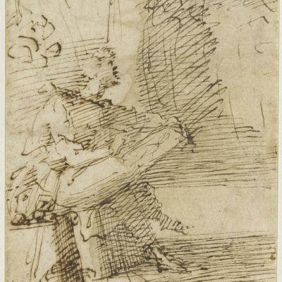 Zeuxis assis, vu de profil droit, dessinant