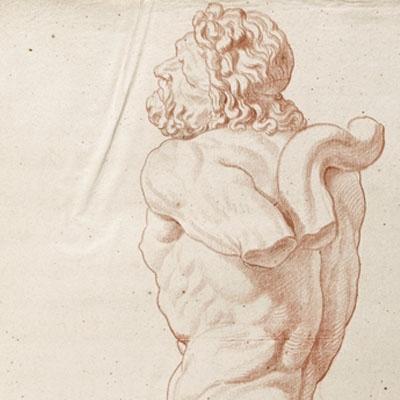Etude d'après un tirage partiel en plâtre du torse du Laocoon du Vatican
