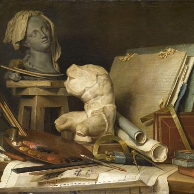 Les attributs de la Peinture, de la Sculpture et de l'Architecture
