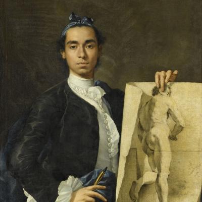 Portrait de l'artiste tenant une académie