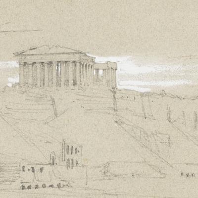 Carnet de voyage, vue de l'Acropole d'Athènes