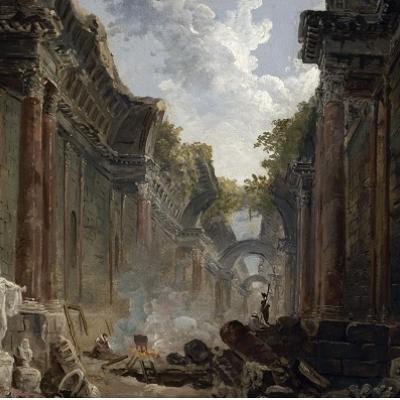 Vue imaginaire de la Grande Galerie en ruine