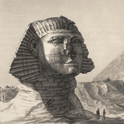 Description de l'Egypte. Volume V, pl. 11. Vue du Sphinx et de la grande Pyramid