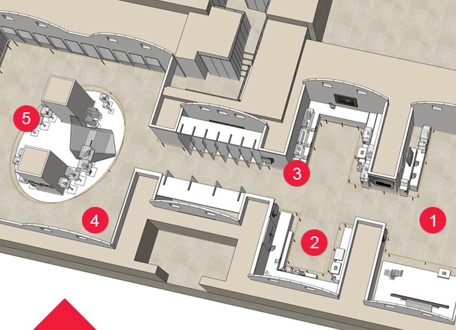 Plan en 3D de l'ensemble des salles d'exposition