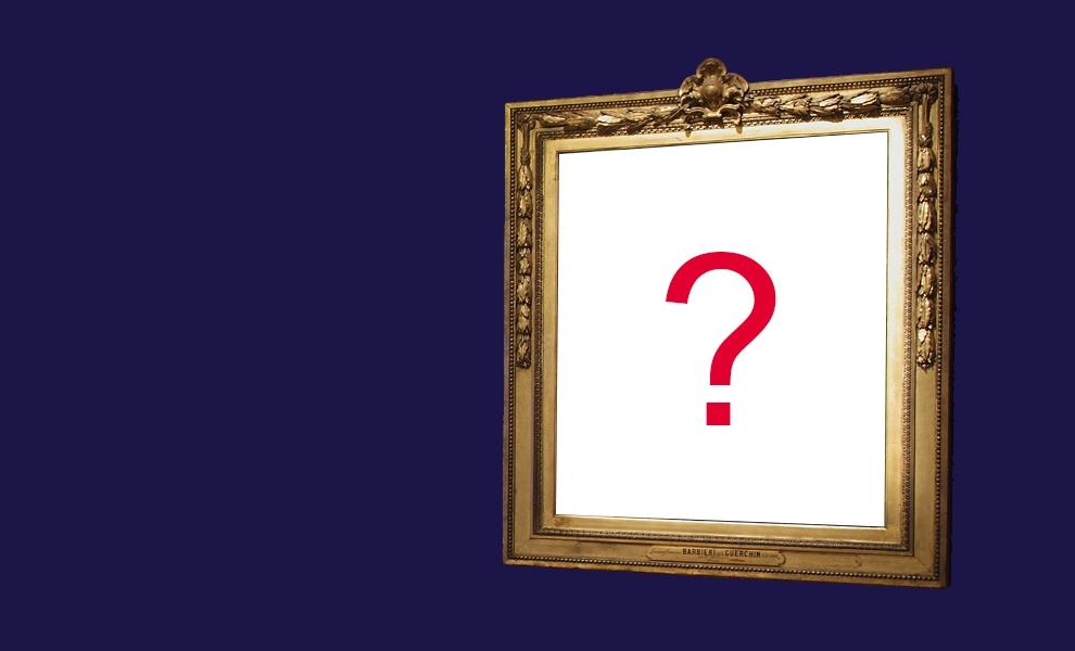 Visuel du jeu concours : un cadre avec un point d'interrogation
